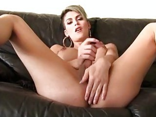 Tender punk shemale gets her tight little cock stroked softly