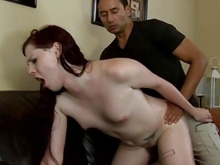 Delicious redhead rides him with that cute little dangling dick