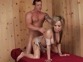 Blond shemale sucks on her man cock and then rides
