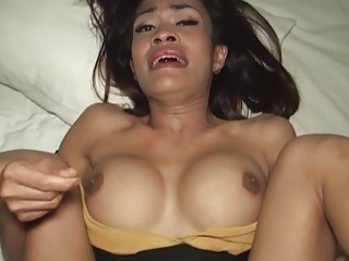 Busty ladyboy Kim bare fucked up the ass in POV