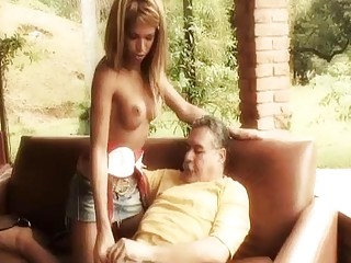 Latina tranny takes care of an old mans boner