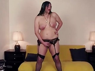 Fat transvestite plays around with her small cock