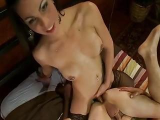 Amazing tranny with small tits fucks her tranny girlfriend hard