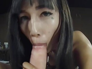 Thai Ladyboy Kaori Mouth And Ass Fucked