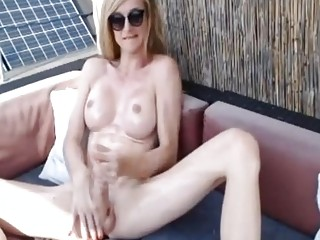 Skinny shemale jerks off in pretty rough manners