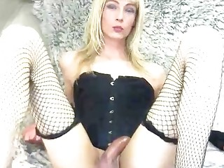 Strong jerk off trans sex with a hot blonde