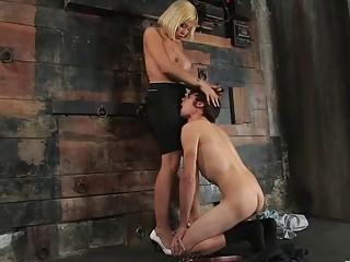 Blonde shemale drives massive inches in the butt hole