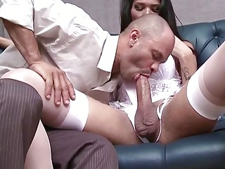 Man throats shemale cock and endures anal