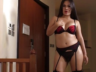 Gorgeous shemale loves to ride her man's pecker
