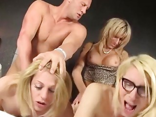 Sizzling hot trannies fucking in a threesome with a big cock bloke