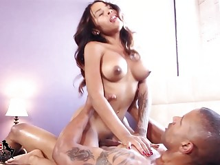 Busty ladyboy and her man are ramming