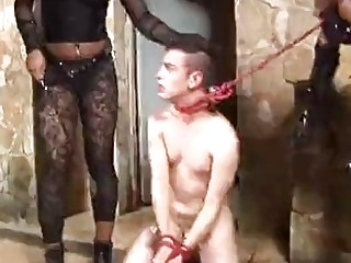 Sissy boy gets destroyed in the sex dungeons by shemales