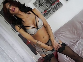 Tranyn gets jizz all over her after fucking
