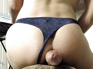 Raunchy hung Tgirl fucks her own ass and cums solo