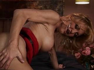 Blonde tranny MILF Olivia fucked hard by big black cock