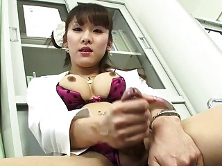Japanese shemale nurse strokes her cock just for your eyes