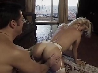 Blond sheboy with huge tits takes big cock anal